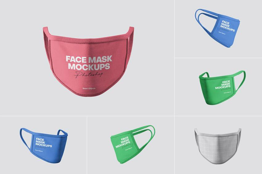 Multi Angle Face Mask Mockup PSD