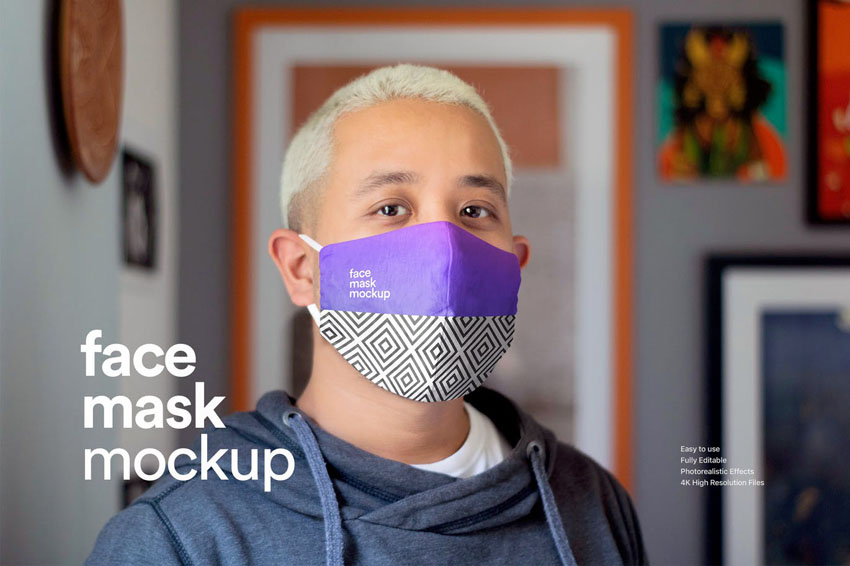High Resolution Face Mask Mockup Template