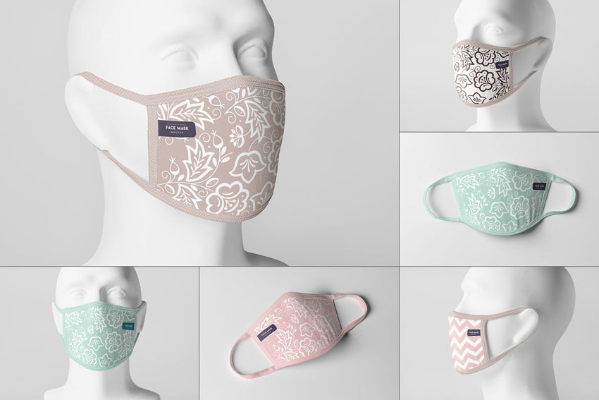 Mannequin Face Mask Mockup PSD Multiple Angles