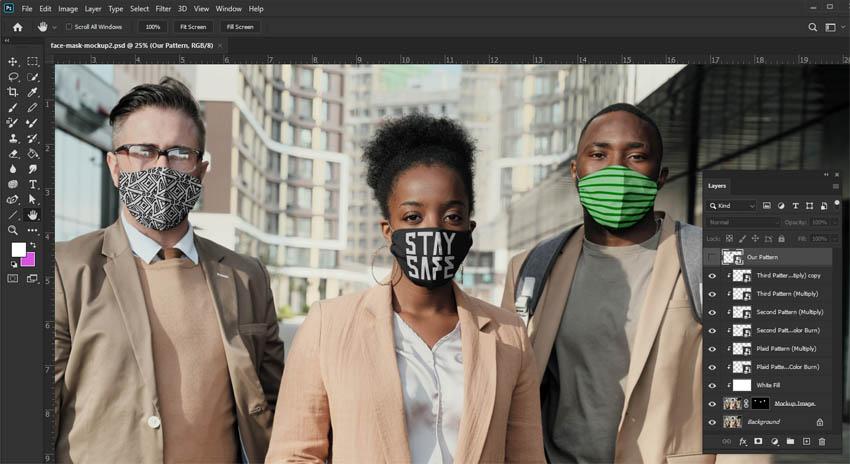 fabric face mask mockup