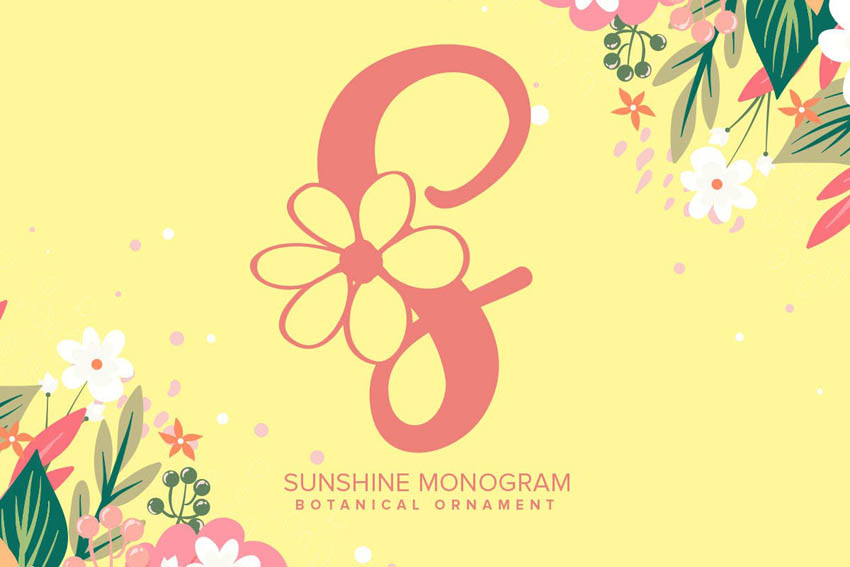 Sunshine Monogram Font Monogram Fonts for Cricut
