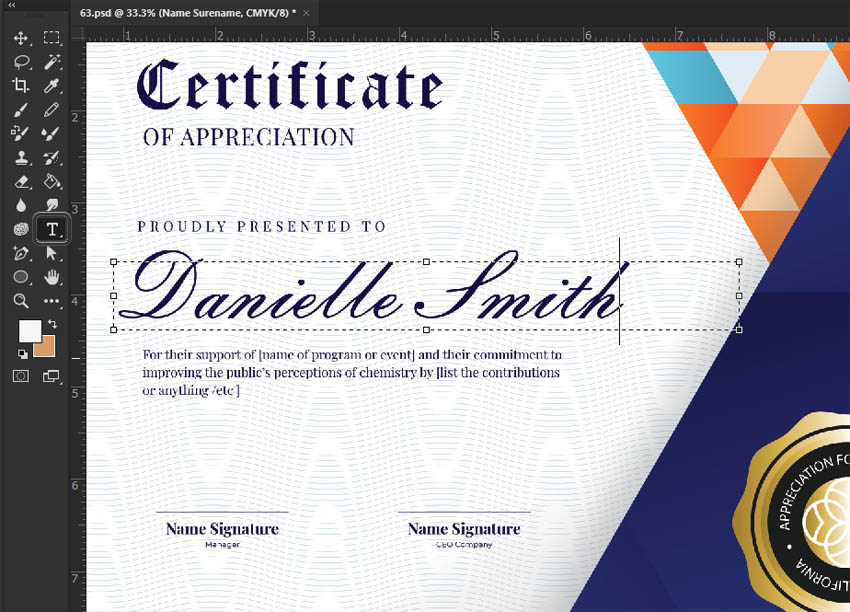 editable certificate template photoshop text