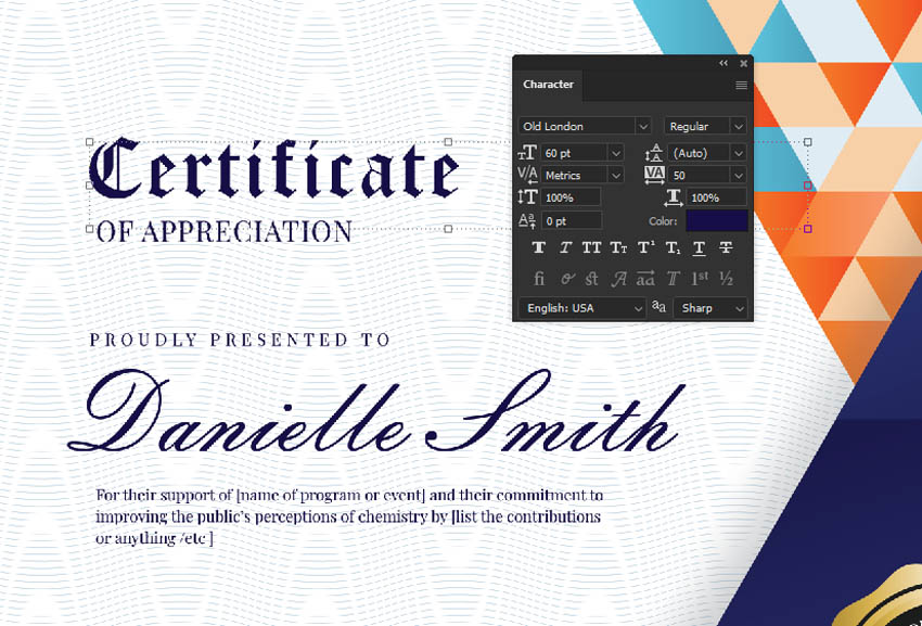 editable certificate template photoshop character panel