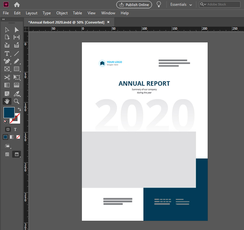 indesign annual report cover