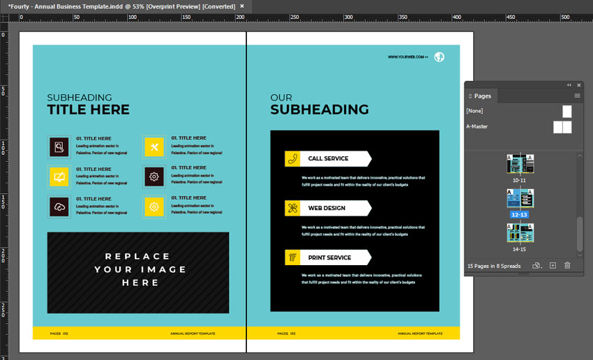 indesign layout annual report