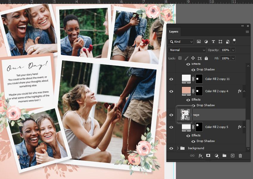 smart object digital scrapbooking in photoshop