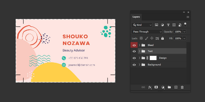 business card design photoshop layers