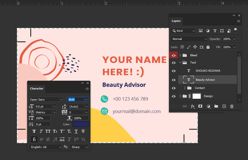 Photoshop character panel business card template