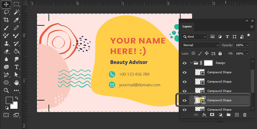 Photoshop move tool business card design
