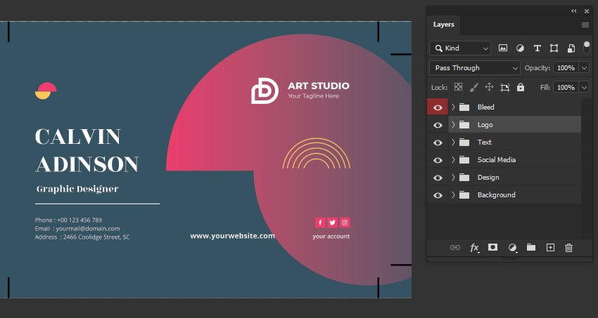 photoshop business card layers