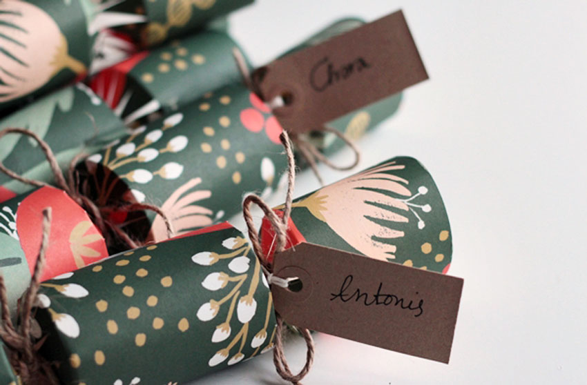 christmas crackers with name tags