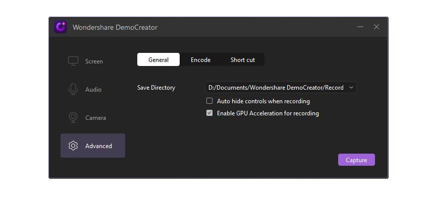 Advanced Settings Wondershare DemoCreator