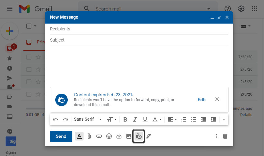 Gmail Confidential Mode Time Set