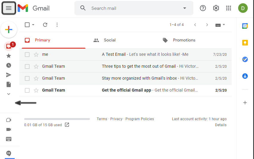 gmail hide extras