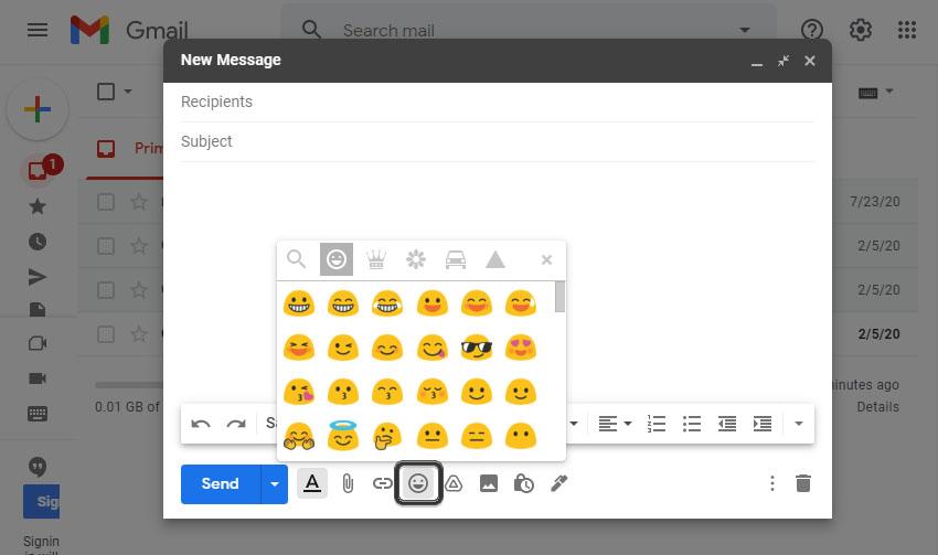 Gmail Emoji