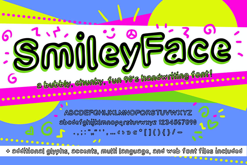 Smiley Face Retro Font (90s Handwriting Web Fonts)