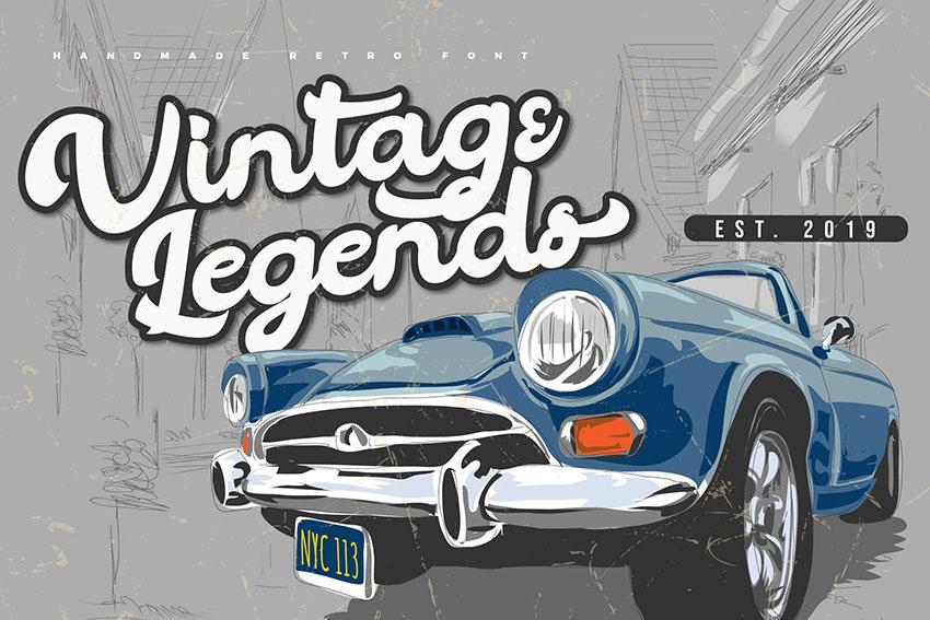 Vintage Legends   Handwritten Retro Font