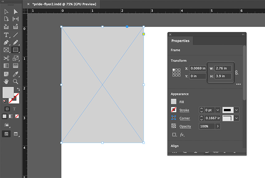 indesign rectangle tool