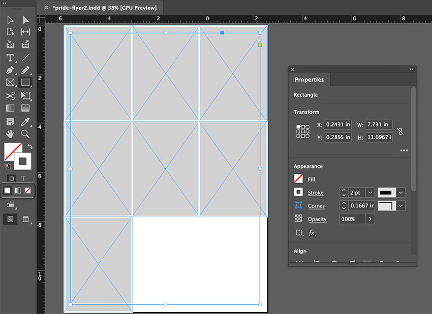 indesign shape stroke no fill