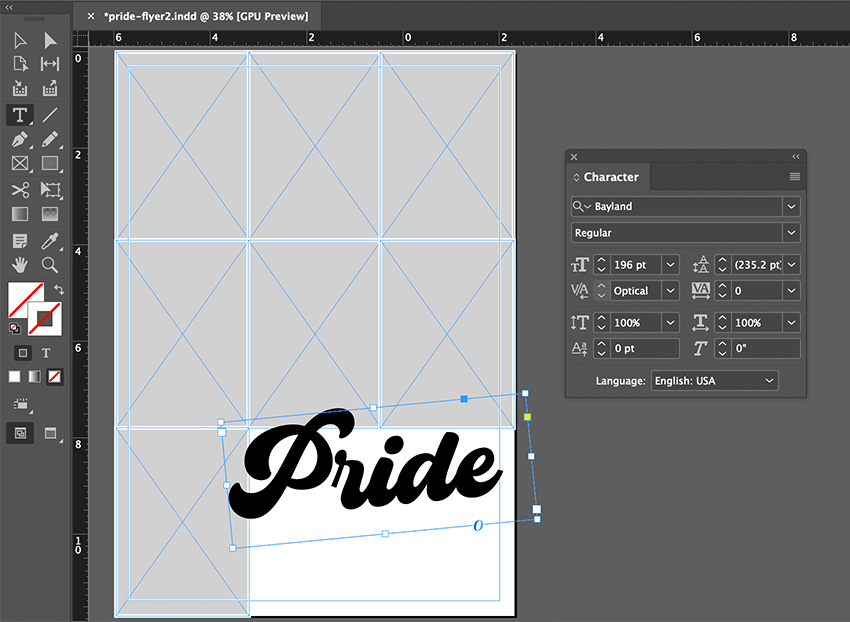 indesign type tool