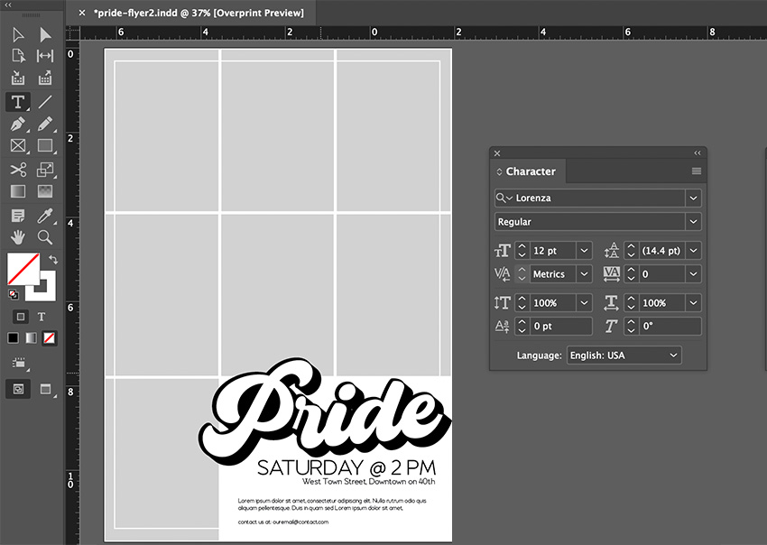 indesign type tool body copy