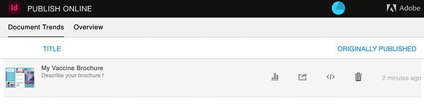 publish online dashboard indesign