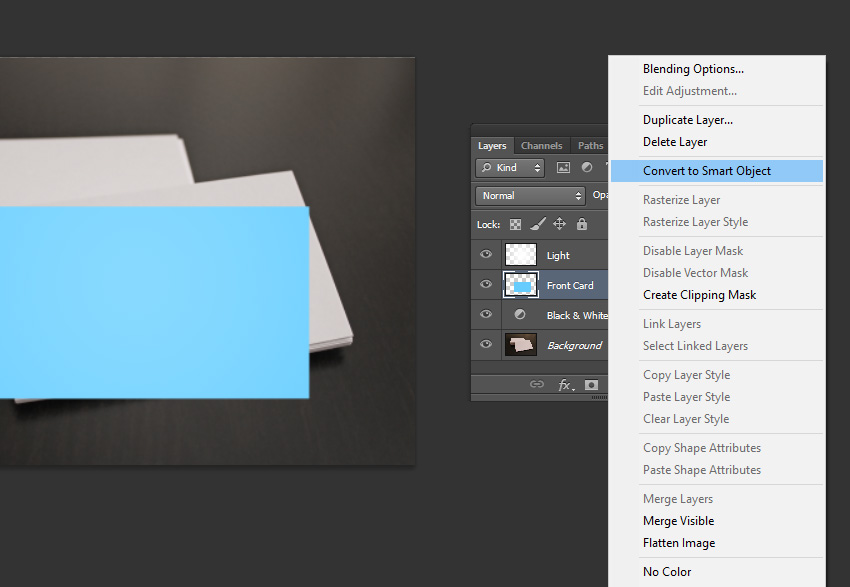 How to design elegant business card mockups using smart objects in conversion of the layer into a smart object reheart Images
