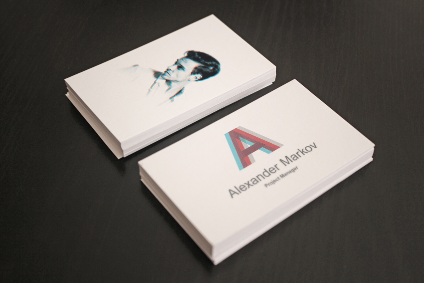 Sample of Business Card Template mockup with blue and red custom design