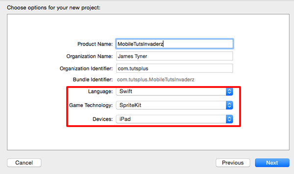 Choose Project Options