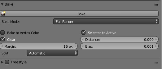 Bake panel in Blender