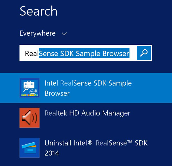 Finding the RealSense SDK Sample Brower in Windows 8