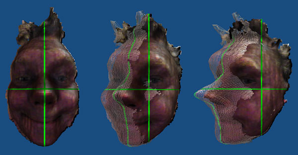 A single 3D scan of the front of someones head taken with RealSense