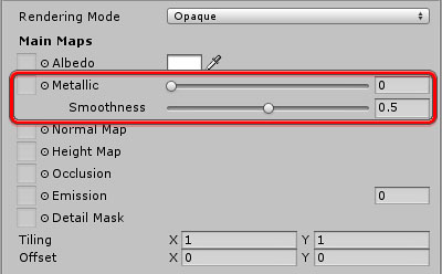 Unity Inspector panel - material properties