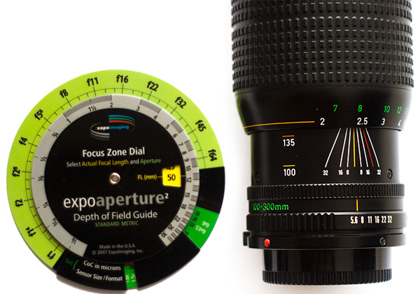 The ExpoAperture 2 disc from ExpoImaging can be used to calculate depth of field and hyperfocal distance if your lens does not have the engravings on the barrel