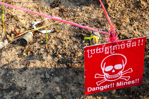 A M42 cluster submunition found near Preah Vihear temple after a clash between Cambodia and Thailands army