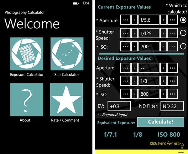 Exposure Calculator App