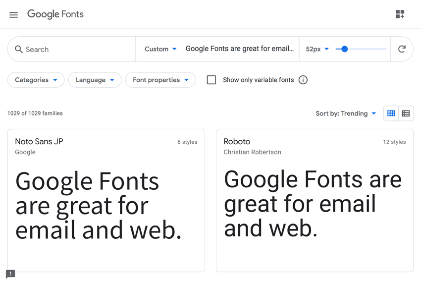 Google Fonts website.