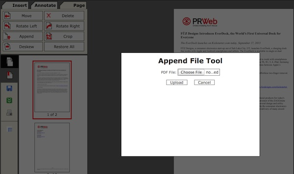 Merging documents with the append tool