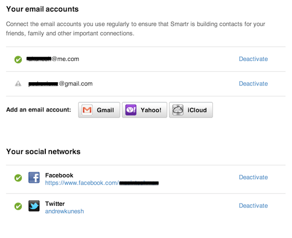 Adding social and email accounts to Xobni via the Accounts page