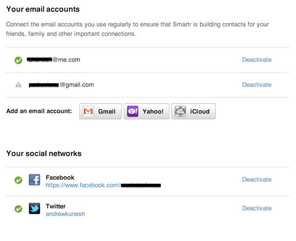 Adding social and email accounts to Xobni via the Accounts page