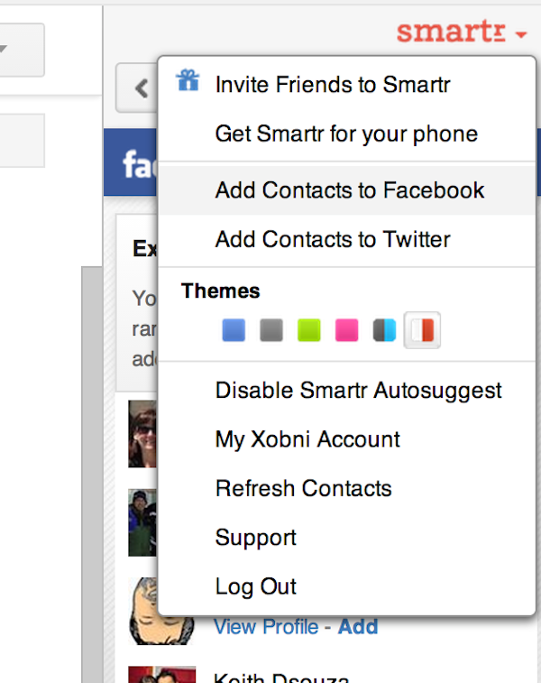 Adding contacts on Facebook and Twitter within Xobni