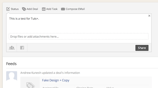 Posting a status to ContactManager