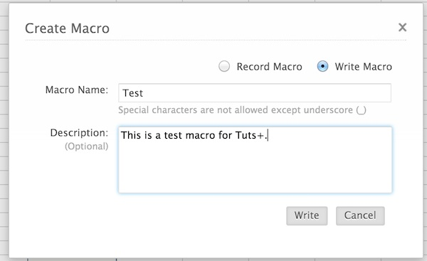 Creating a new macro in Zoho Sheet