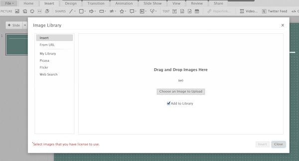 Adding images to a Zoho Show presentation