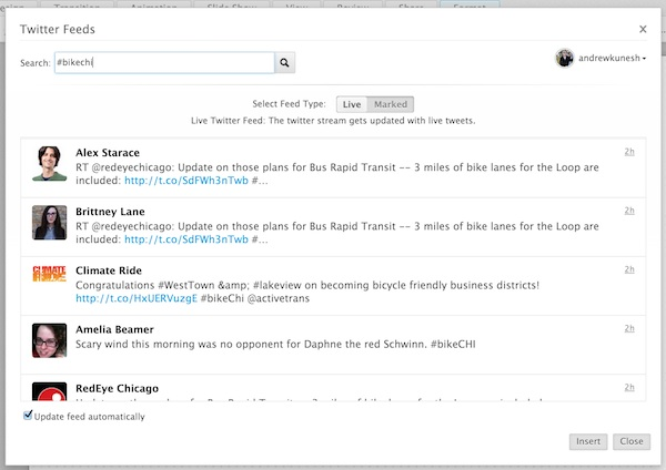 Adding a live Twitter feed to your presentation