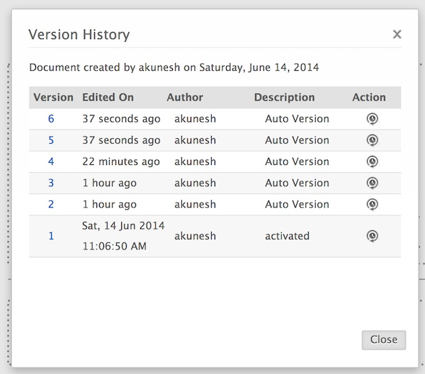 Viewing version history in Zoho Show