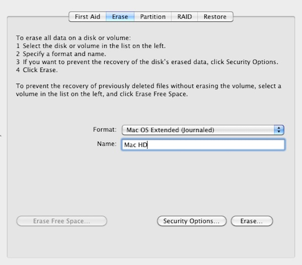Formatting the Macs hard drive using Disk Utility