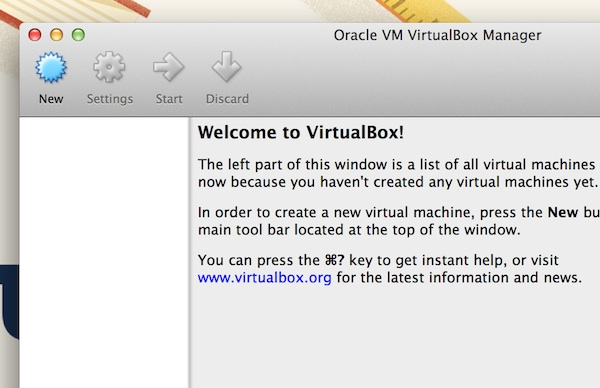 Creating a new virtual machine in Virtualbox