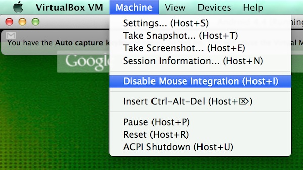 Disabling mouse integration in Virtualbox
