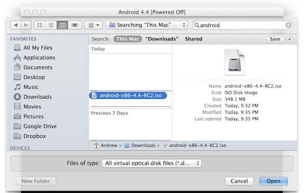Selecting the Android ISO youd like to install to the newly created virtual machine